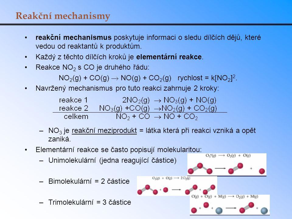 NO2(g) + CO(g)  NO(g) + CO2(g) rychlost = k[NO2]2.